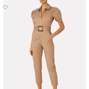 NWT WEWOREWHAT Belted puff sleeve cotton jumpsuit